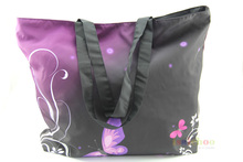 Purple Butterfly Soft Foldable Tote Women's Shopping Bag Shoulder Bag Lady Handbag Pouch,light weight,washable