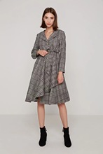 Z1011C29 autumn new Europe and the United States with collect waist grid cloth coat 8357 #(China)