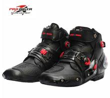Pro biker ankle leather Motobotinki motorcycle boots men racing bota moto motor bike shoes motorboats for motocross black(China)