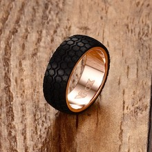 Mens Rings Black Forged Carbon Fiber Tire Design Wedding Bands Finger Ring Men Rose Gold-color Stainless Steel Fashion Jewelry(China)