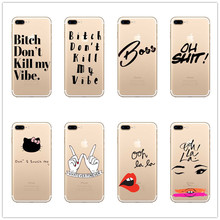 2017 Fashion English bitch Words Case For iPhone 6 6S 6 Plus 6s 5  SE 7 7 Plus Transparent hard plastic Phone hello kitty shell