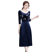 Navy Blue Velvet Dress 2017 Autumn New Arrival Flowers Embroidery Draped Empire Ladies Fancy Vintage Dresses 0925-88(China)
