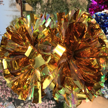 "Free Fast Shipping Cheerleader Pom pom Metallic Gold 1,000*3/4""* 6""  18pieces Fully Game Baton POMS"