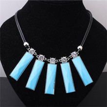 BOBFELOU   desgin Light blue rectangle tassel perfume bottles Necklace collar pendant Fashion Jewelry Accessories