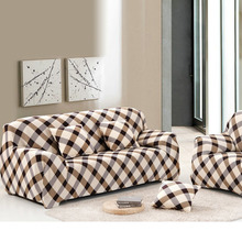 1Pcs Sofa Cover Spandex Sofa Slipcovers Fabric Grid Cloth Art Printed Couch Cover Stretch Furniture Covers fundas sofa tela