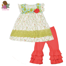 Factory Direct Sale New Girls Clothing Sets Square Collar With Flora Sleeveless Red Pant Sweet Kids Outfits Clothing Set S095(China)
