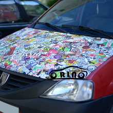 Hot Euro style Stickerbomb Vinyl WRAP Real Logos STICKER BOMB Film With Air Free Car Wrap Styling Graphics(China)