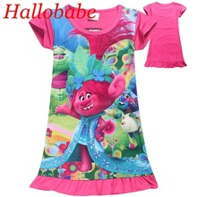 Clearance sales Baby Dresses Girl Nightgown Trolls Party Girls Dress Summer Kids Dresses Girls Clothes Children Pajamas Vestidos(China)