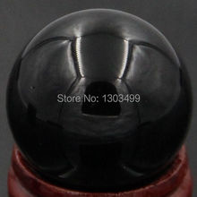 Free Shipping Natural Stone Gemstone 30MM Black Obsidian Sphere Crystal Ball Chakra Healing Reiki Stone Carving Crafts(China)