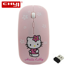 Cartoon Design Wireless Mouse Optical Pink Hello Kitty Mute Mause with Battery for Laptop Computer Mice Silence Mouse Kids Gift