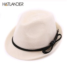 Hatlander 2017 children sun hat summer visor hat girls beach hat boy jazz cap soft crochet cotton white fedora hats caps for kid