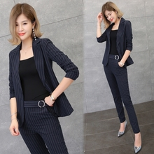 Buy New Arrival Spring Fashion Women's Business Pants Suits Striped Slim Blazer Coat Suits Women 2 Pieces Set/high for $53.39 in AliExpress store