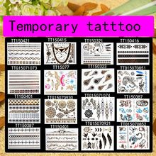 16pcs DIY party decoration Flash tattoo gold temporary sticker tattoo jewelry dragon feather for halloween carnival hen party