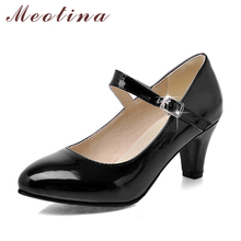 Meotina Fashion Shoes Women Pumps Spring Pointed Toe Mary Jane Chunky Medium Heels Plain Red Gold Ladies Shoes Black Size 34-39(China)