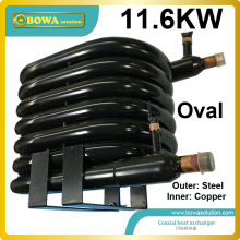 11.6KW  coaxial heat exchanger coils suitable for 3HP 3-in-1(cooling, heating and hot water) heat pump air conditioner
