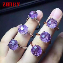 Natural amethyst gem ring Genuine solid 925 sterling silver woman gemstone jewelry Fireworks cut