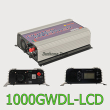 1000W LCD wind power grid tie inverter with dump load,MPPT pure sine wave on grid inverter for DC 22-60V/45-90V wind turbine(China)