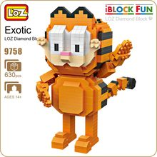 LOZ Diamond Blocks Exotic Cat Figure Toy Pixels Blocks Toys For Children Gift Series Micro Block Cute Animal Assembly Model 9758(China)