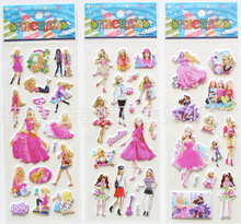 200 sheets/lot Cartoon Barbie princess 3D PVC sponge adhesive stickers 17*7cm kids girls gift/paper games decoration toy