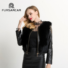 Buy FURSARCAR Real Genuine Leather Fur Coat Women Sleeves Real Fox Female Short Jacket 2017 New Women Fur Punk jacket for $480.00 in AliExpress store