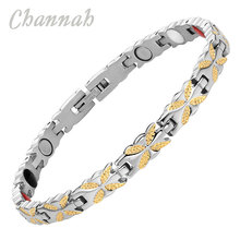 Channah 2017 Women 4in1 Magnets Bracelet Negative Ions Germanium Far Infra Red Stainless Gold Bangle Wristband Charm