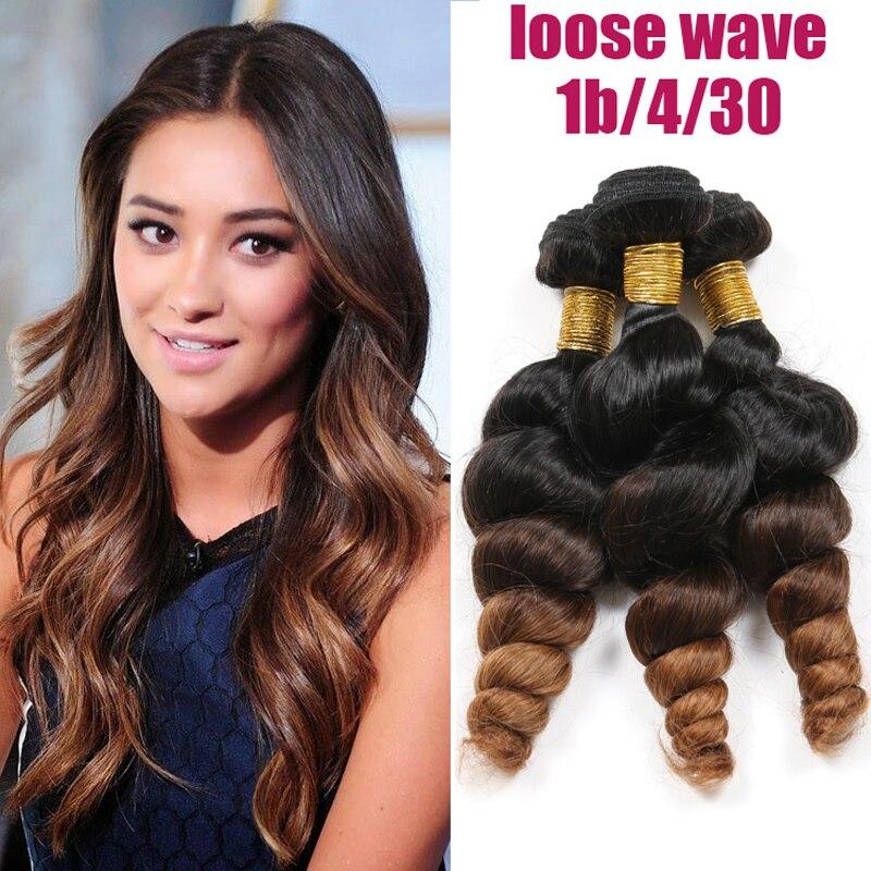 Peruvian Hair Ombre Hair Extension 3pcs Loose Wave 6A Virgin Hair 1B #4#30/ 27 Remy Human Hair Bundles Spark Hair Weave BOB-101<br><br>Aliexpress