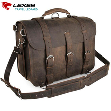 Cartable Vintage LEXEB Brand Genuine Leather Briefcase Business Bag Men 15 Inches Laptop High Quality Shoulder Bags Horse Saddle