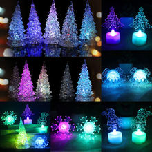 Hot Fashion Unique Crystal Color LED Lamp Light Decoration Home Party Decor Christmas Tree Figurines Crafts