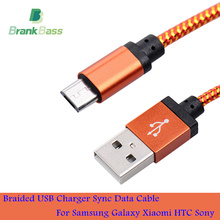 BrankBass 1M 2M 3M/25CM Braided Nylon Micro USB Cable Charger Data Sync USB Cable Cord For Android Smart Phone for tablet PC