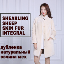 womens natural shearling genuine thick shearing Sheep skin fur coat 2016 winter long outerwear trench coats female clothing