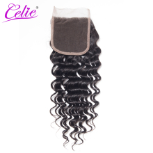 Celie Hair Brazilian Deep Wave With Lace Closure 4x4 Swiss Lace Remy Human Hair Closure Free Part Medium Brown Can Be Bleached(China)