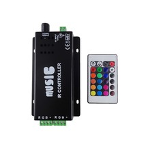1pcs RGB Music IR Controller with remote Sound Activated 144w 2 Ports Output for Color Changing RGB LED Strips 5050 SMD 24key UR
