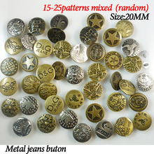 30PCS 20MM MIXED metal jeans button sewing clothes accessories JMB-023(China)