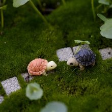 2PCS Mini Turtle Tortoise Miniature Fairy Garden Decoration DIY Doll House Micro Landscape Decoration New Design Decor(China)