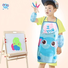 2017 Kids Apron Sets Child Cooking Painting Waterproof Children Gowns Bibs Eating Clothes Drawing With Oversleeve Hot(China)