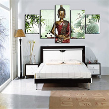 Painted Oil Paintings On Canvas Contemporary Gift For Living Room Religion Buddha Hand 5 Pcs Quadros De Parede Pintura A Oleo(China)