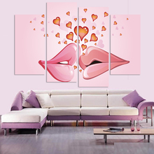 Free Shipping wedding pink canvas painting wall picture lips and love heart canvas art home decor Morden poster no frame(China)