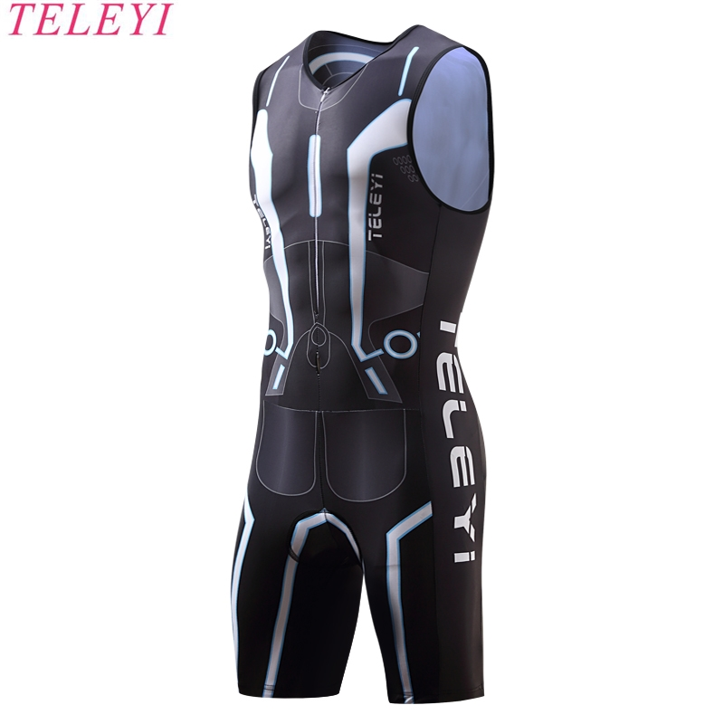 2017 TELEYI Triathlon Cycling Jersey Quick Dry Sleeveless Cycling Skinsuit Bike Jersey Clothes For Swimming Running Riding<br>