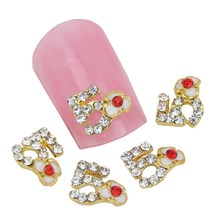 10Pcs/Lot 5 Letter Paved White Flower With Red Rhinestone Gold 3D Alloy Nail Art Charm Beauty DIY Nail Stickers&Decals MA0232