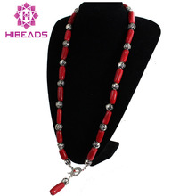 CRN0062 Free Shipping 34 Inch Natural Coral Neckalce 12-16mm Drum Red Coral Necklace Wholesale