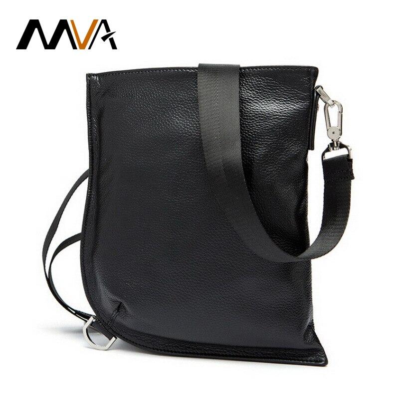 MVA Genuine Leather Men Bag Messenger Bag Men Leather Shoulder Bags Ipad Pouch Flap Male Chest Pack Crossbody Bags Black 9038<br>