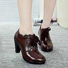 2017 Spring Autumn Women Boots High Quality Solid Lace-up European Ladies genuine Leather Shoes Fashion Boots Women Ankle Boots