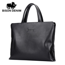 BISON DENIM Men Briefcase Business Travel iPad Laptop Bag Male Casual Office Briefcase Genuine Leather Handbag Totes Bag N2391-3(China)