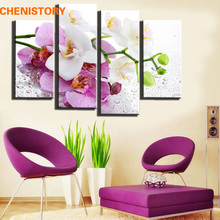 No frame 4 panel pink floral butterfly modern art print painting for living room wall picture home decoration