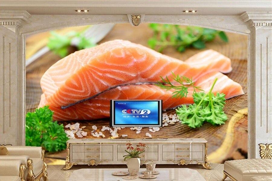 Custom papel de parede,Seafoods Fish Food wallpapers,restaurant kitchen living room sofa tv wall 3d wall murals wallpaper<br>