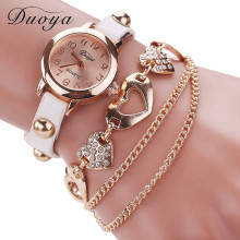 Brand New Duoya Watches Women Brand Gold Heart Luxury Leather Wristwatches Women Dress Bracelet Chain Bracelet Watch July15(China)