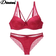Buy DAINAFANGNew sexy hollow products T Hongs lingerie short dress ABC embroidered lace push women lingerie g-string dress pants