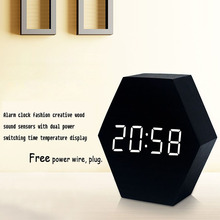 LED Digital Clock Temperature USB Or Battery Power Supply Wood Alarm clock Cute Mute Hexagon Sound Control Temperature Display