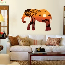 Factory direct HM92002 elephant silhouette modern Nordic style entrance living room TV decoration wall stickers wholesale