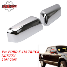 Left & Right Chrome Door Wing Rear View Mirror Hlaf Cover Cap for Ford F-150 XLT FX4 F150 TRUCK XLT FX4 2004-2008 #RC014